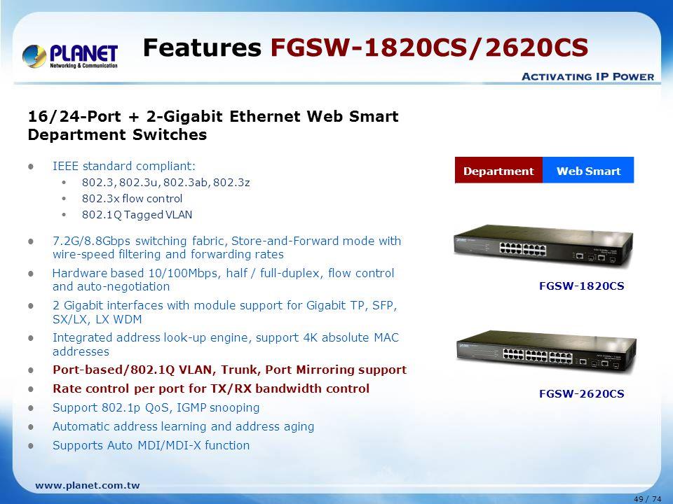 Features FGSW-1820CS/2620CS 16/24-Port + 2-Gigabit Ethernet Web Smart