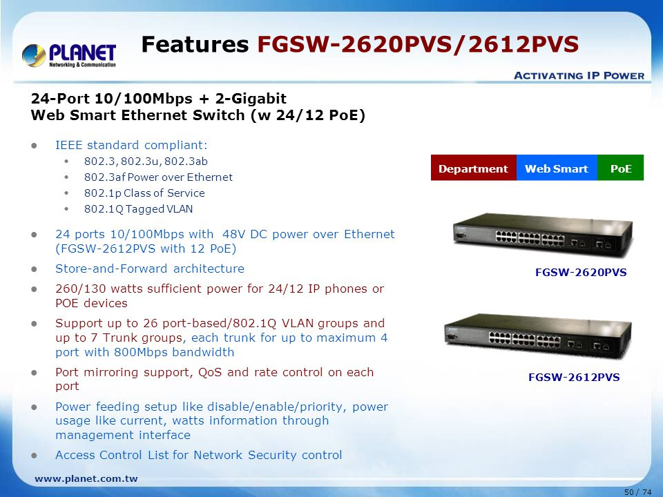 Features FGSW-2620PVS/2612PVS