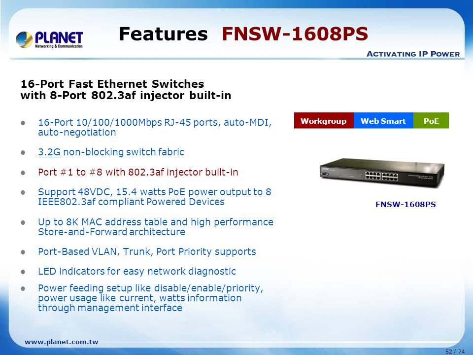 Features FNSW-1608PS 16-Port Fast Ethernet Switches