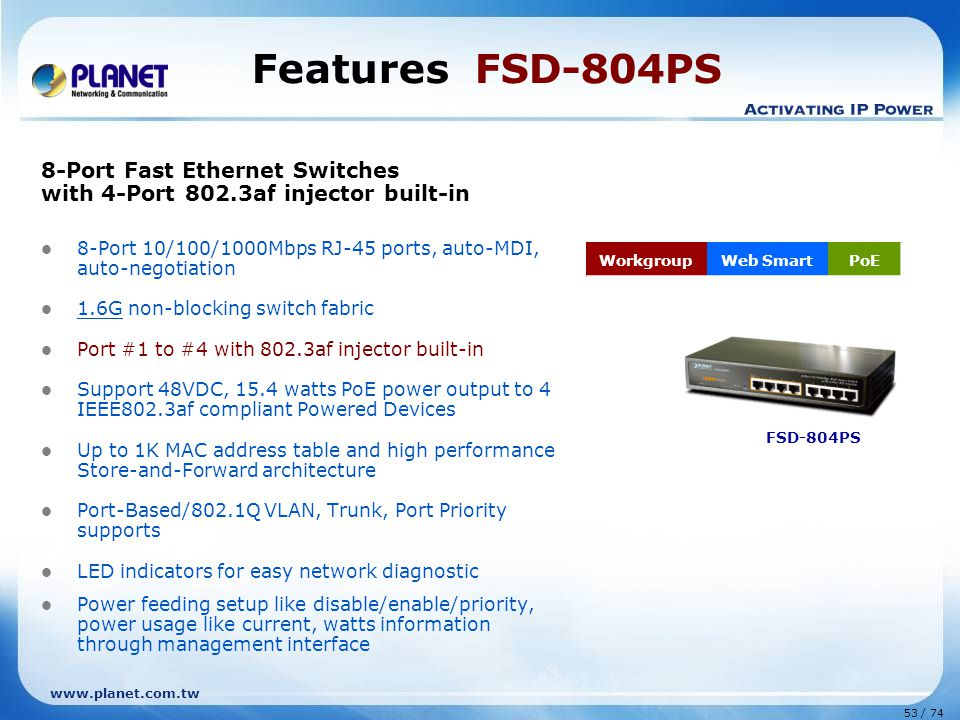 Features FSD-804PS 8-Port Fast Ethernet Switches