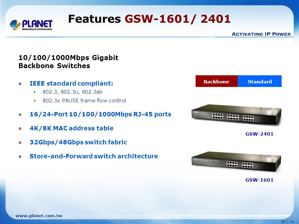 Features GSW-1601/ 2401 10/100/1000Mbps Gigabit Backbone Switches