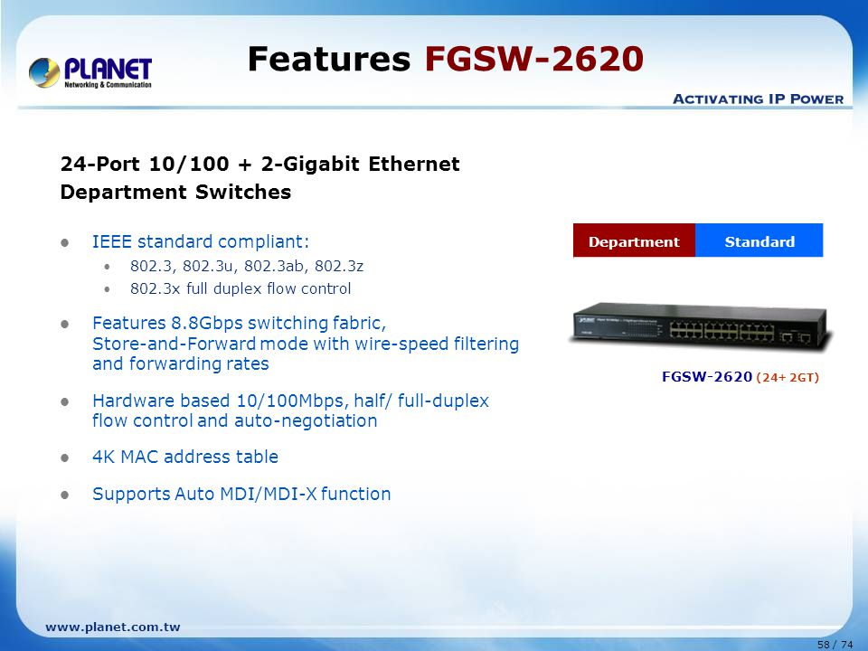 Features FGSW-2620 24-Port 10/100 + 2-Gigabit Ethernet