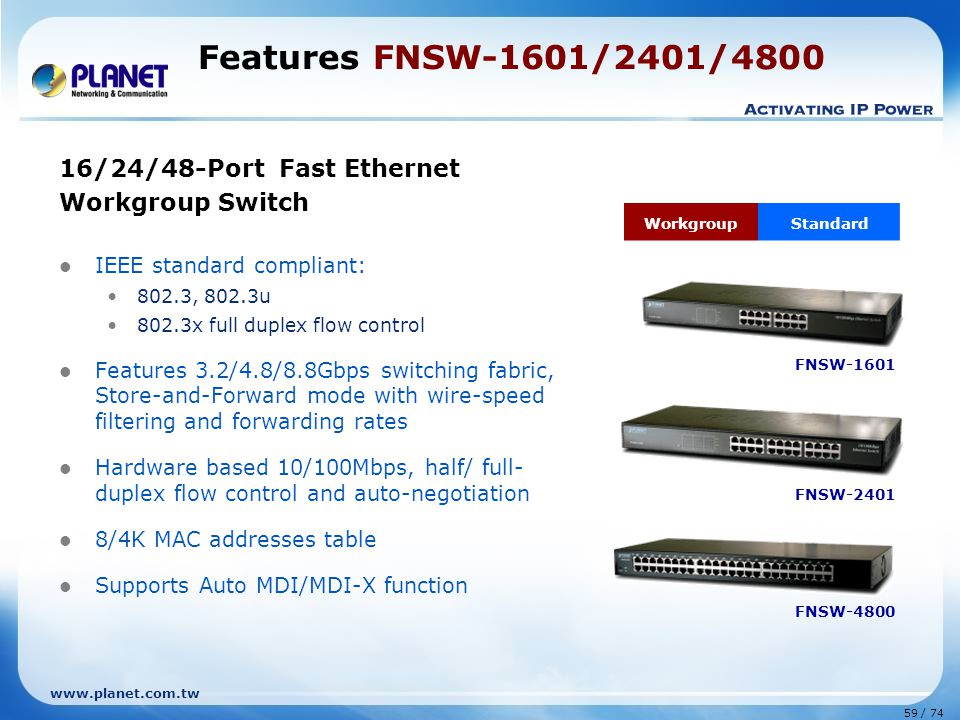 Features FNSW-1601/2401/4800 16/24/48-Port Fast Ethernet