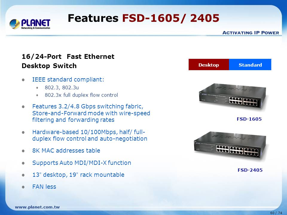 Features FSD-1605/ 2405 16/24-Port Fast Ethernet Desktop Switch