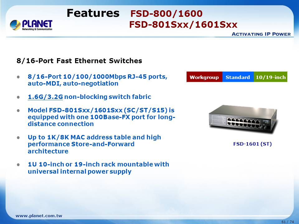 Features FSD-800/1600 FSD-801Sxx/1601Sxx
