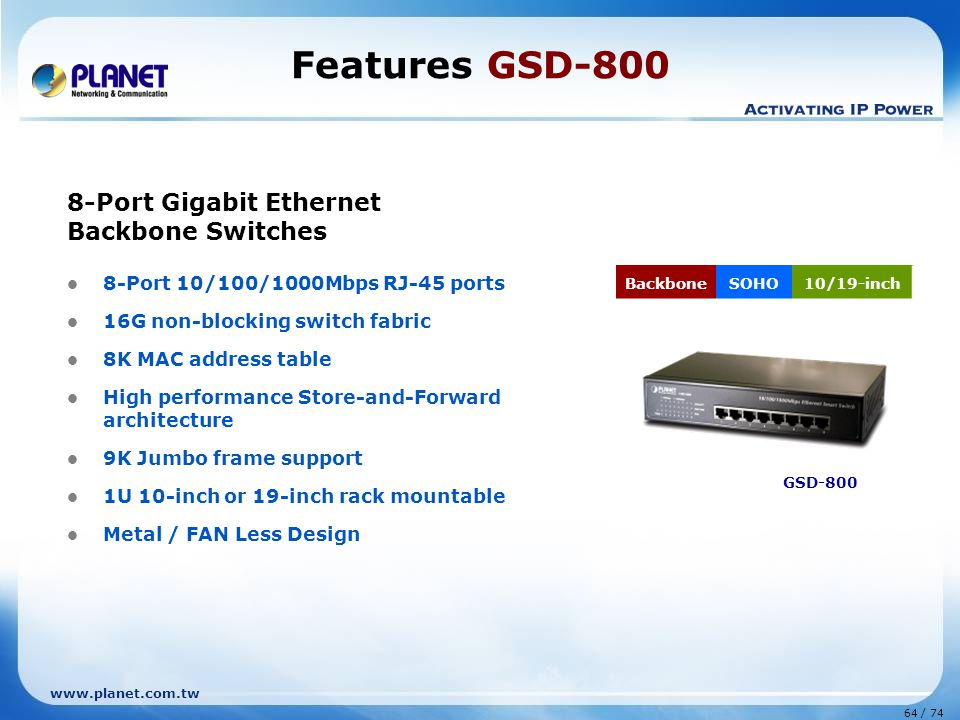 Features GSD-800 8-Port Gigabit Ethernet Backbone Switches