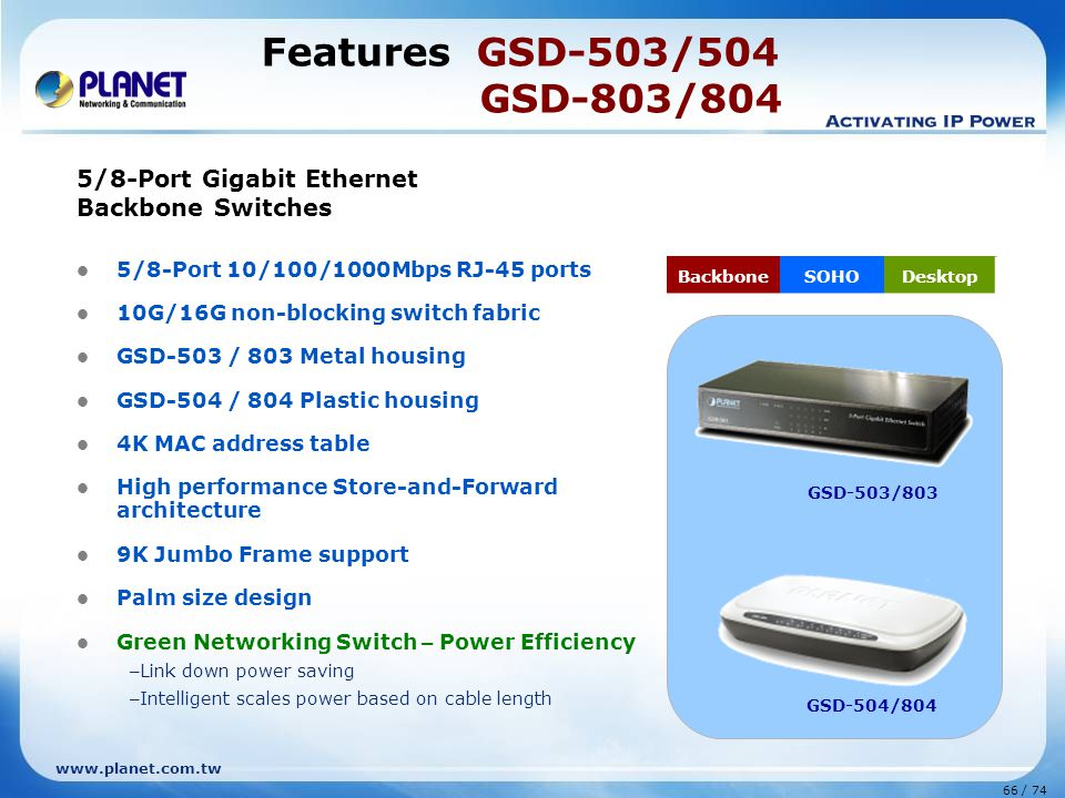 Features GSD-503/504 GSD-803/804 5/8-Port Gigabit Ethernet