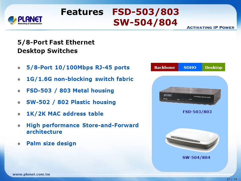 Features FSD-503/803 SW-504/804 5/8-Port Fast Ethernet