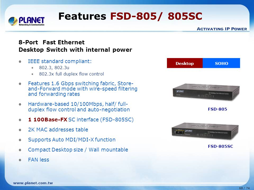 Features FSD-805/ 805SC 8-Port Fast Ethernet