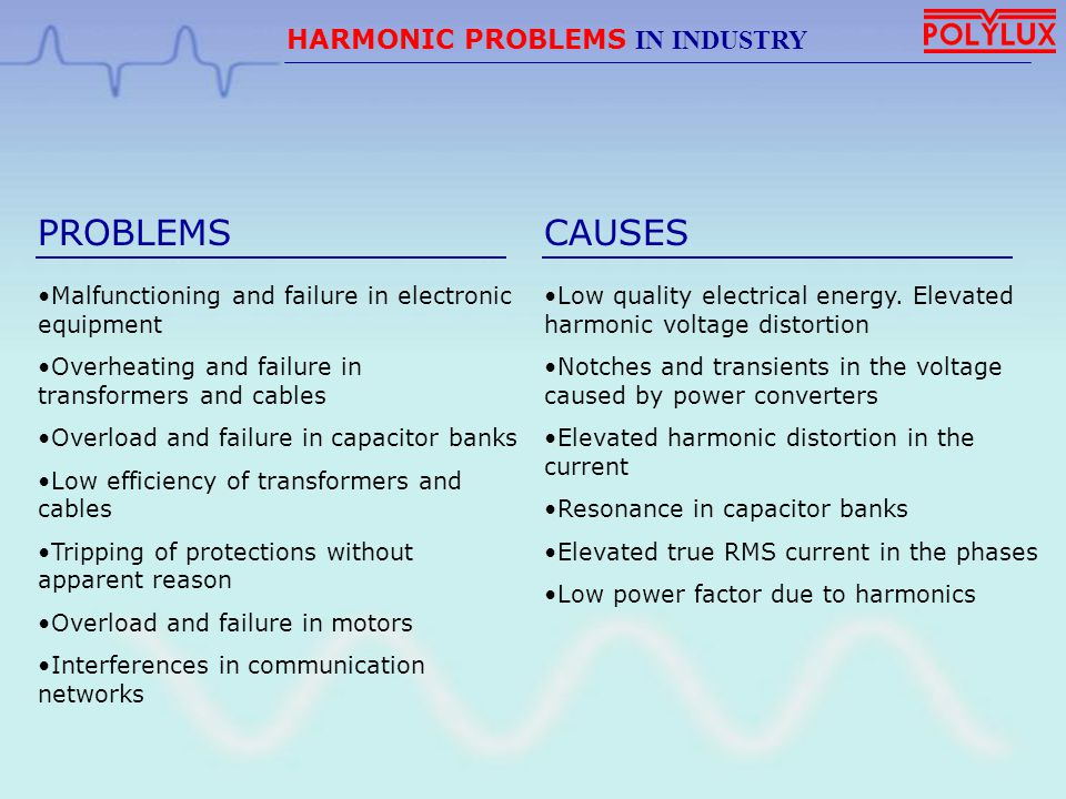 PROBLEMS CAUSES HARMONIC PROBLEMS IN INDUSTRY