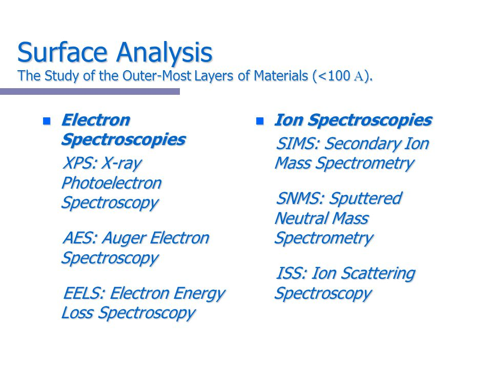 Surface Analysis The Study of the Outer-Most Layers of Materials (<100 ).