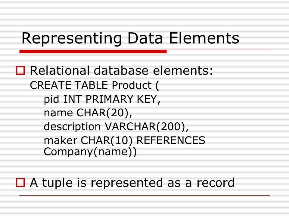 Representing Data Elements