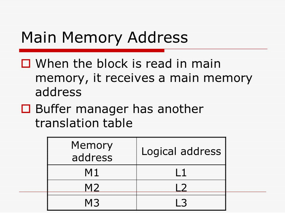 Main Memory Address When the block is read in main memory, it receives a main memory address. Buffer manager has another translation table.