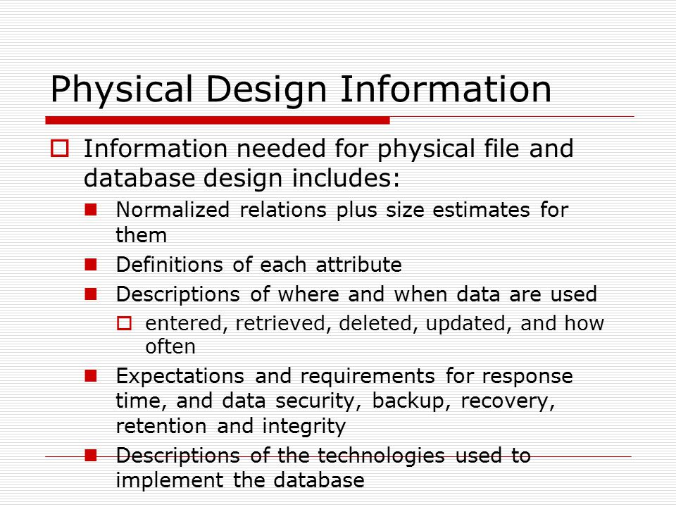 Physical Design Information
