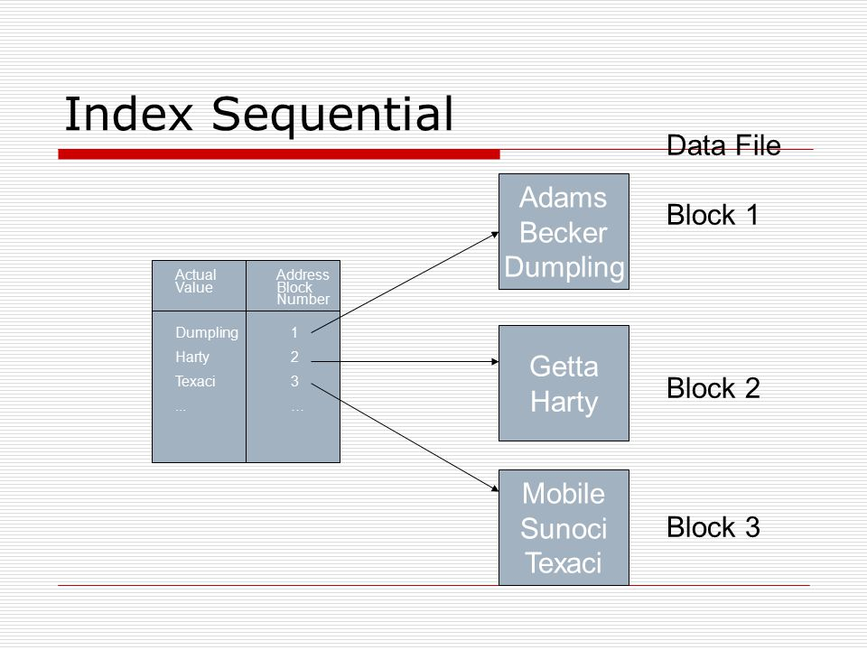 Index Sequential Data File Block 1 Adams Becker Block 2 Block 3 Getta