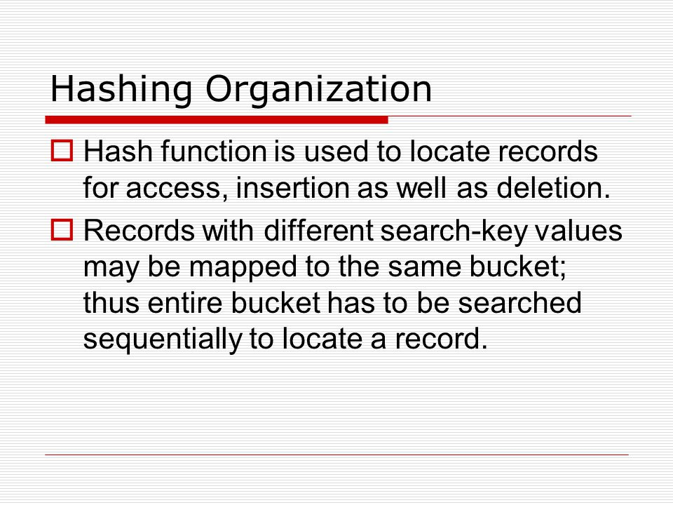 Hashing Organization Hash function is used to locate records for access, insertion as well as deletion.