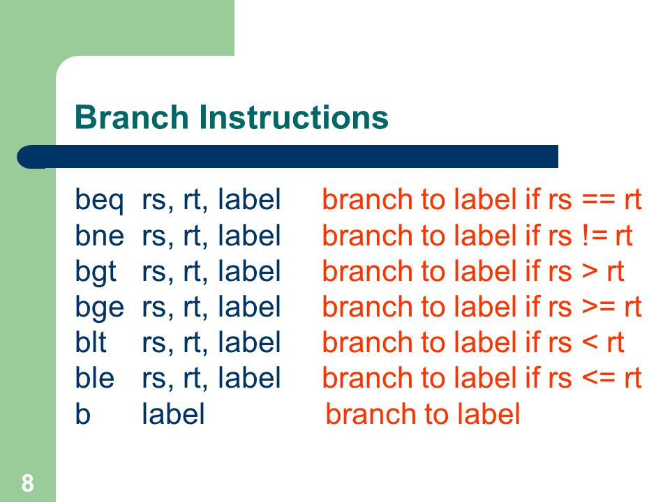 Branch Instructions beq rs, rt, label branch to label if rs == rt