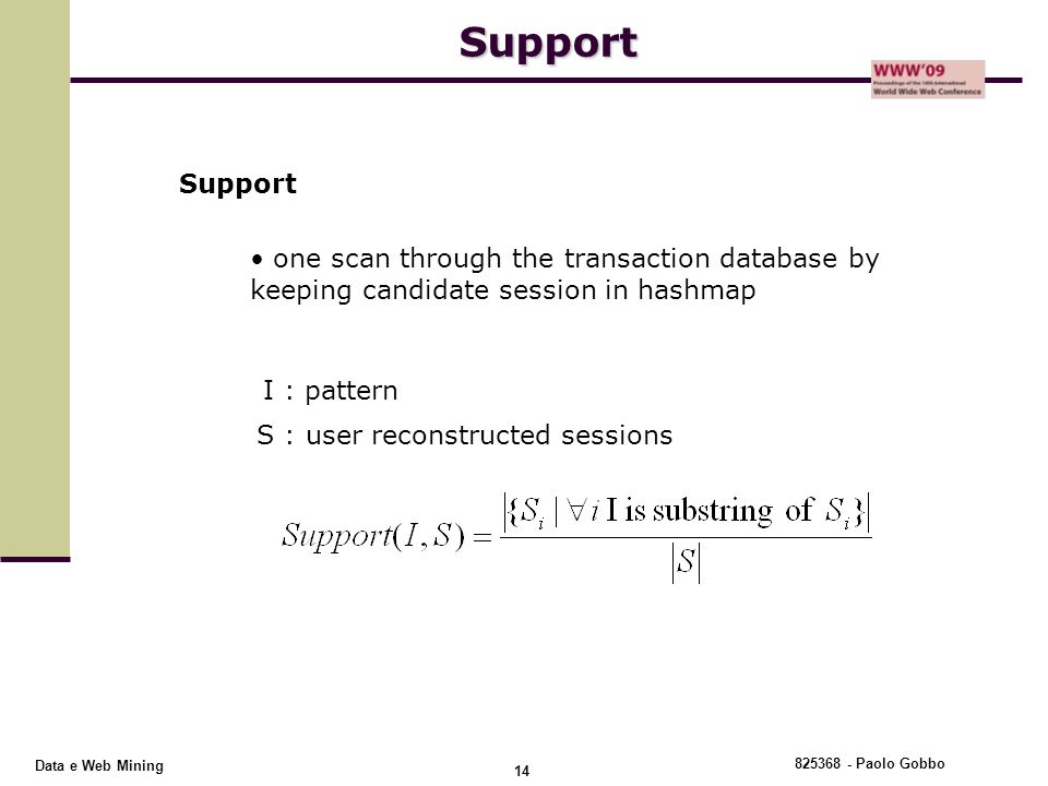 Support Support. one scan through the transaction database by keeping candidate session in hashmap.