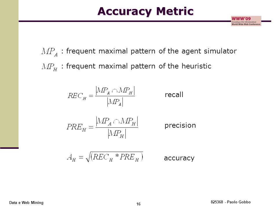 Accuracy Metric : frequent maximal pattern of the agent simulator