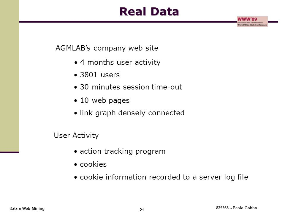 Real Data AGMLAB's company web site 4 months user activity 3801 users