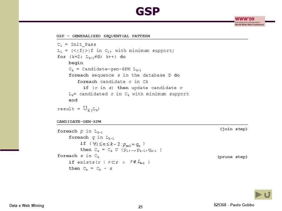 GSP C1 = Init_Pass L1 = {<{f}>|f in C1, with minimum support}