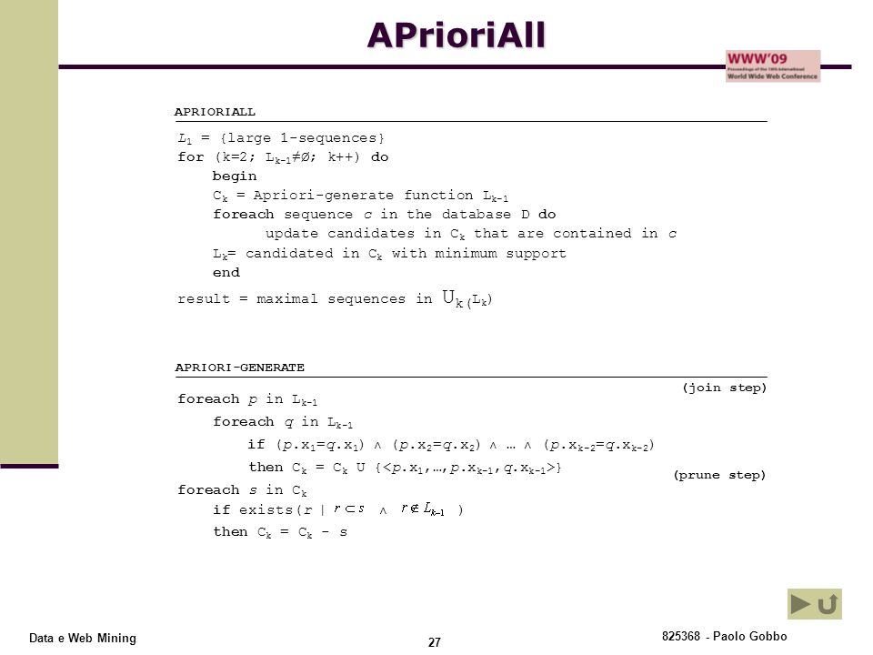 APrioriAll L1 = {large 1-sequences} for (k=2; Lk-1≠Ø; k++) do begin