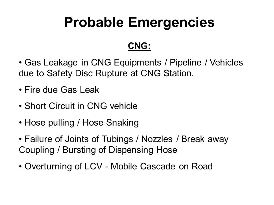 Probable Emergencies CNG: