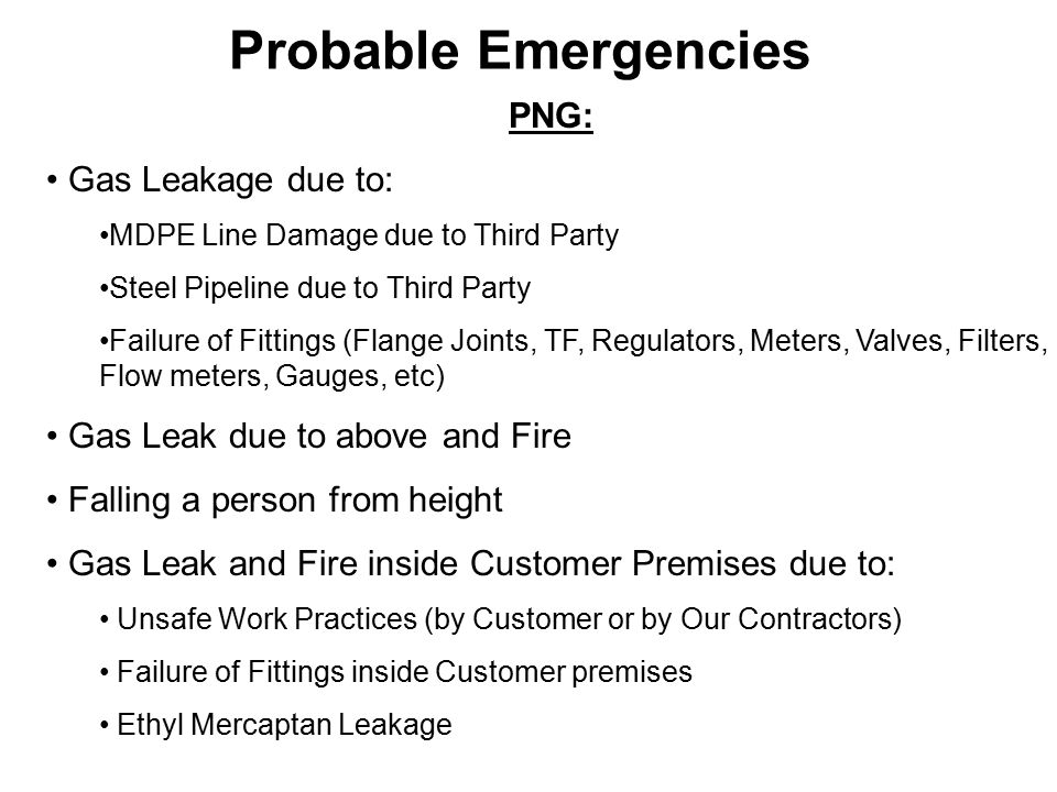 Probable Emergencies PNG: Gas Leakage due to: