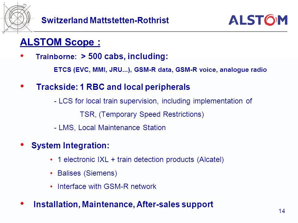 ALSTOM Scope : Switzerland Mattstetten-Rothrist