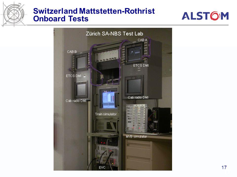 Switzerland Mattstetten-Rothrist Onboard Tests