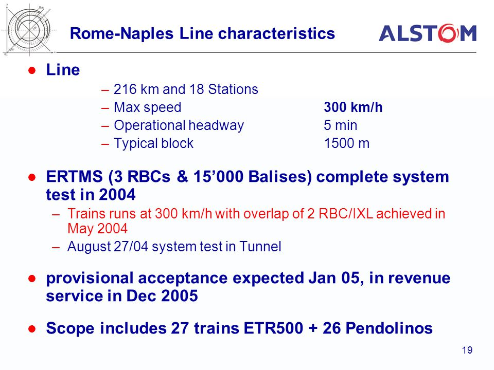 Rome-Naples Line characteristics
