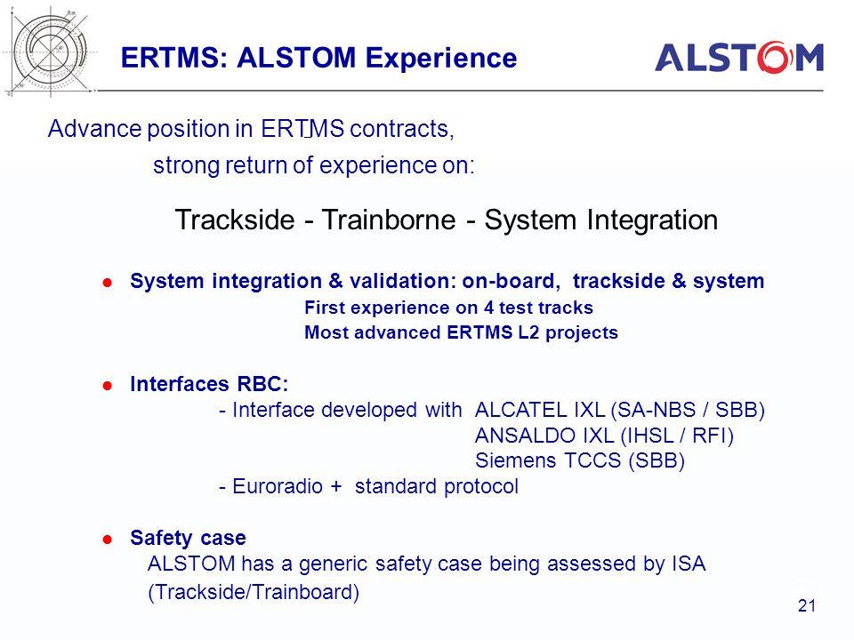 ERTMS: ALSTOM Experience