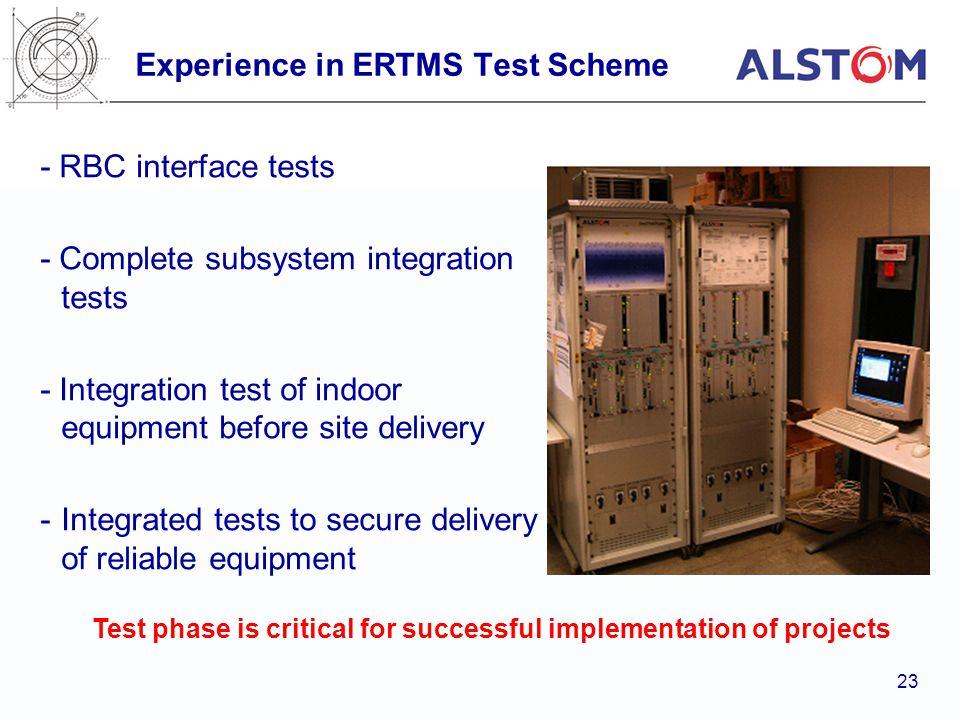 Experience in ERTMS Test Scheme