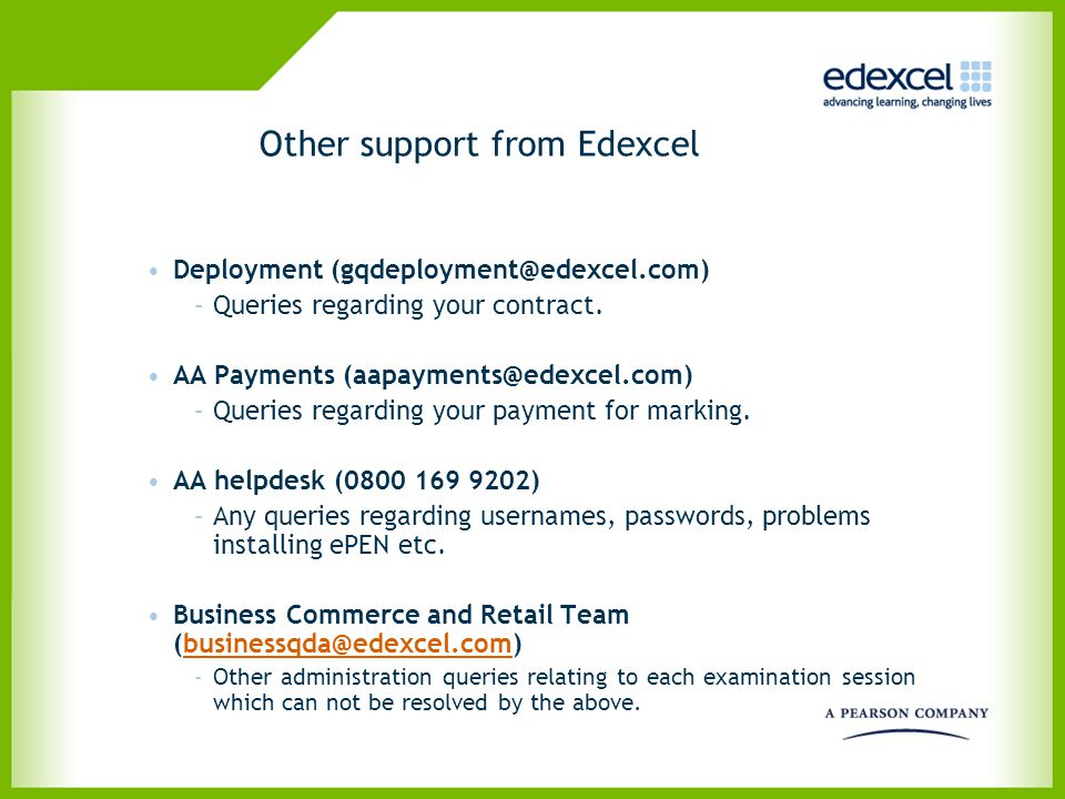 Other support from Edexcel