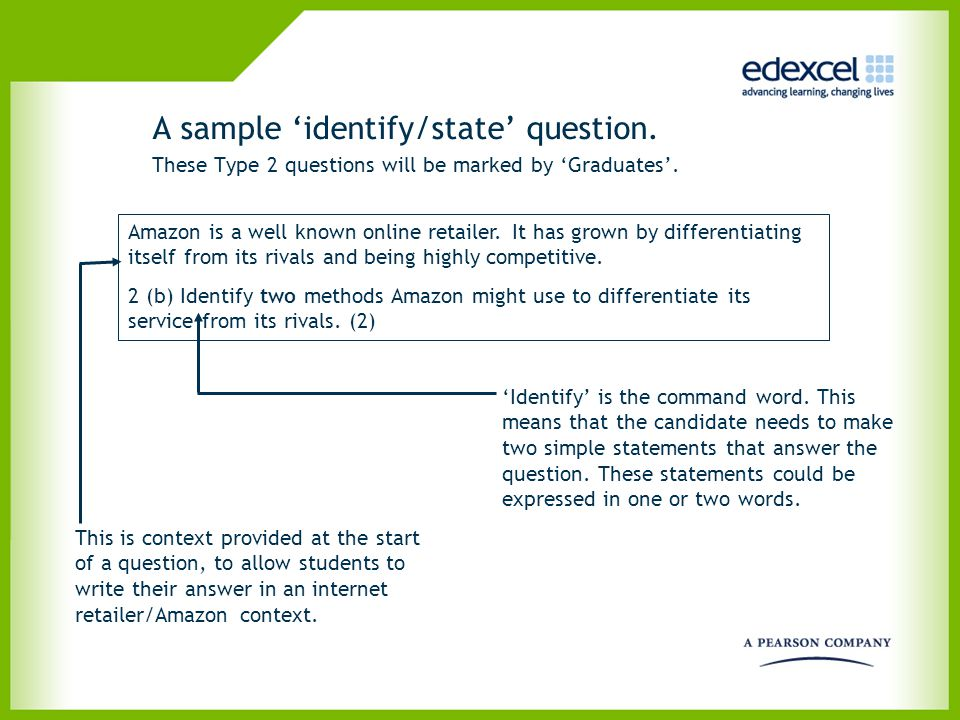 A sample 'identify/state' question