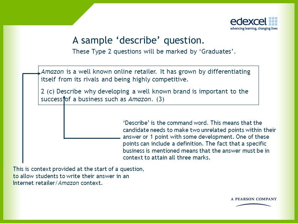 A sample 'describe' question