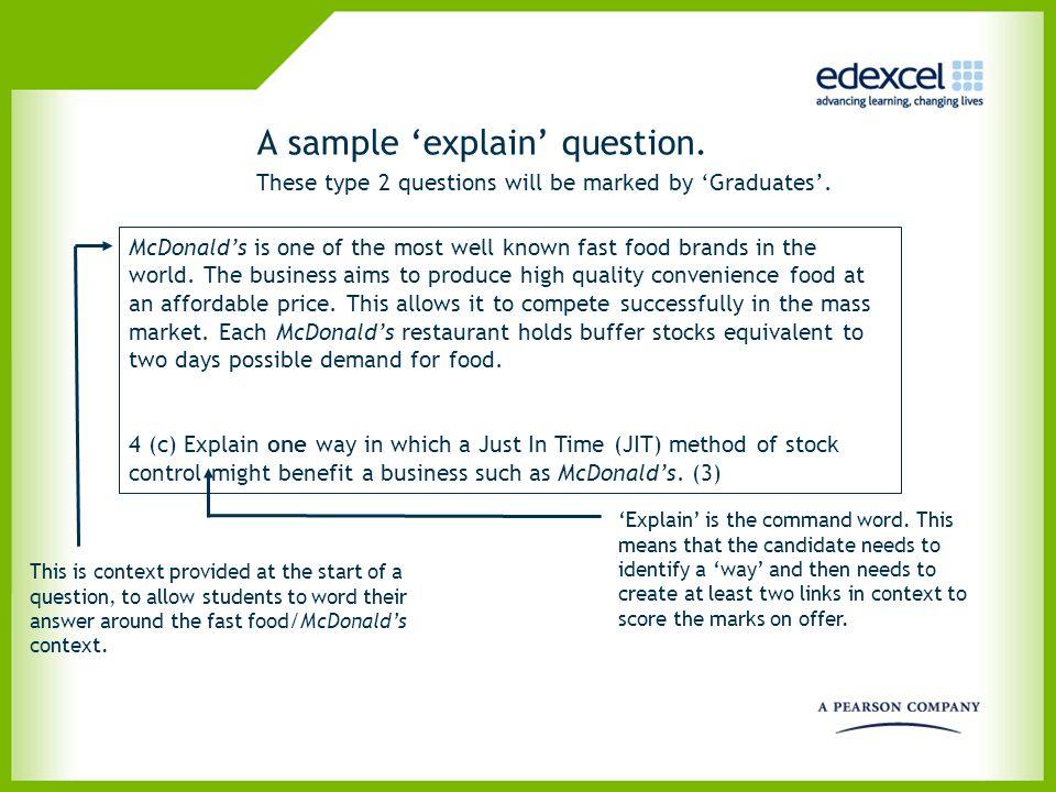 A sample 'explain' question