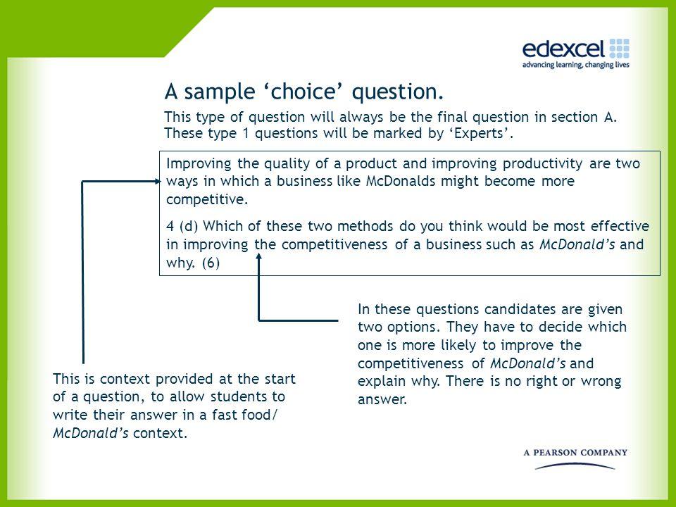 A sample 'choice' question