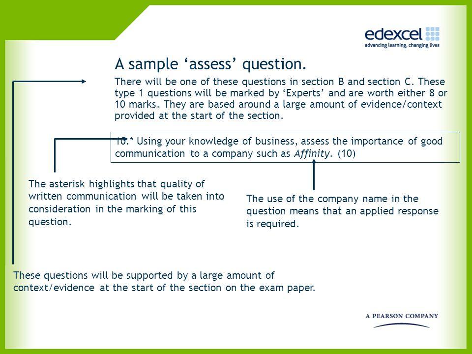 A sample 'assess' question