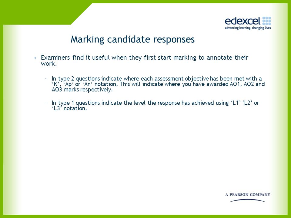 Marking candidate responses