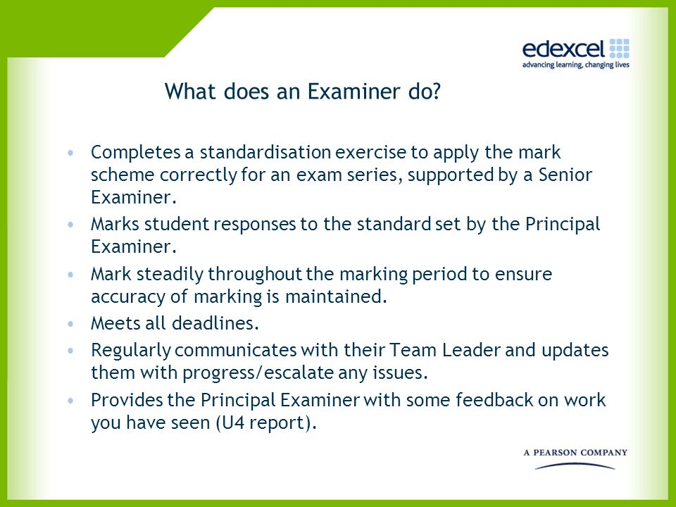 What does an Examiner do