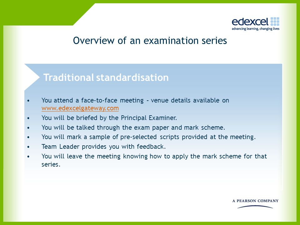 Overview of an examination series