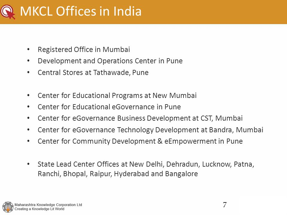 MKCL Offices in India Registered Office in Mumbai