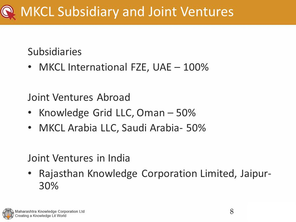 MKCL Subsidiary and Joint Ventures