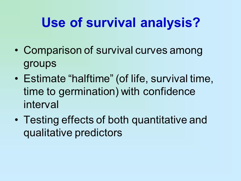 Use of survival analysis