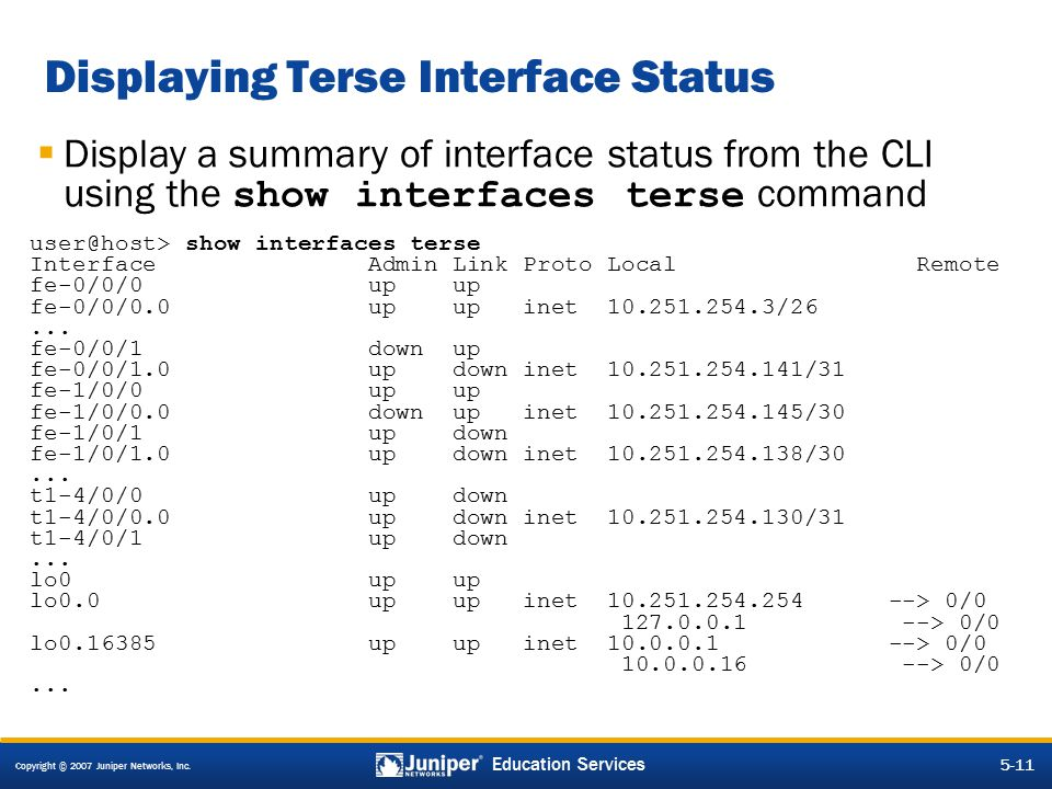 Displaying Terse Interface Status