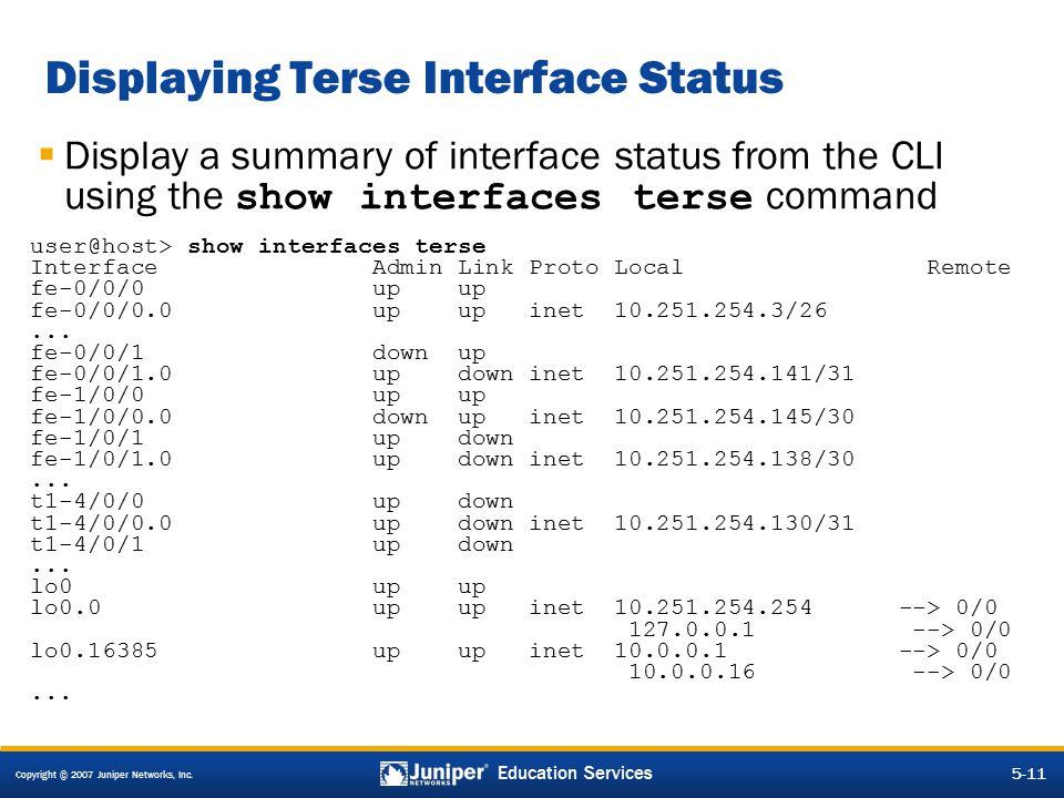 Displaying Terse Interface Status