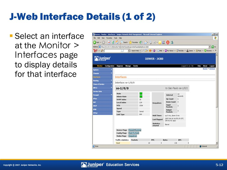 J-Web Interface Details (1 of 2)