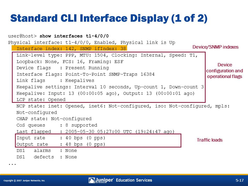 Standard CLI Interface Display (1 of 2)