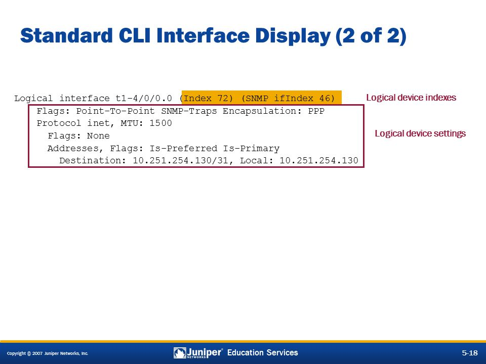 Standard CLI Interface Display (2 of 2)